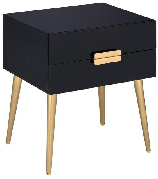 "20"" X 16"" X 24"" Black And Gold Metal End Table"